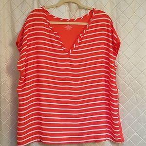 Lane Bryant coral & white striped  blouse 18/20